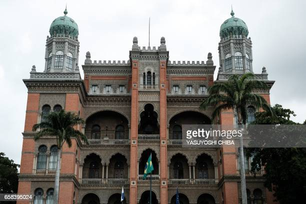 View of 'The Castle' a building inspired by the Spanish Moorish palaces and inaugurated in 1918 where the Oswaldo Cruz Foundation is in Rio de...