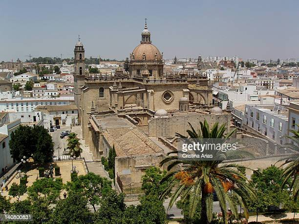 View of the cathedral and the old town of Jerez de la Frontera Cadiz Andalucia Spain July 2006