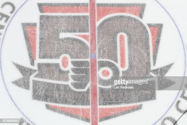 A view of the center ice 50th Anniversary logo of the Philadelphia Flyers prior to a NHL game against the Chicago Blackhawks on December 3 2016 at...