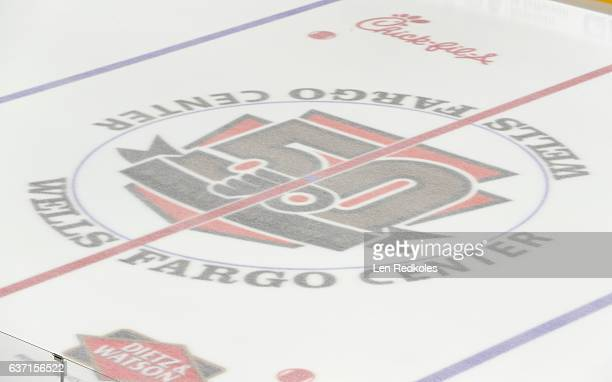 A view of the center ice 50th Anniversary logo of the Philadelphia Flyers prior to a NHL game against the Washington Capitals on December 21 2016 at...