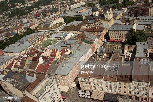 Vista do Centro de Lviv quadrado : Foto de stock