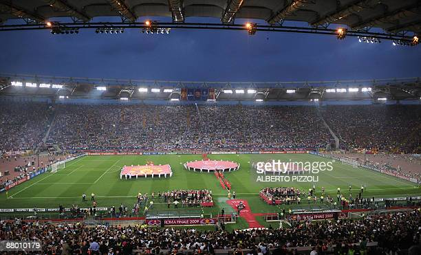 A view of the ceremony prior the UEFA football Champions League's final opposing FC Barcelona to Manchester United on May 27 2009 at the Olympic...