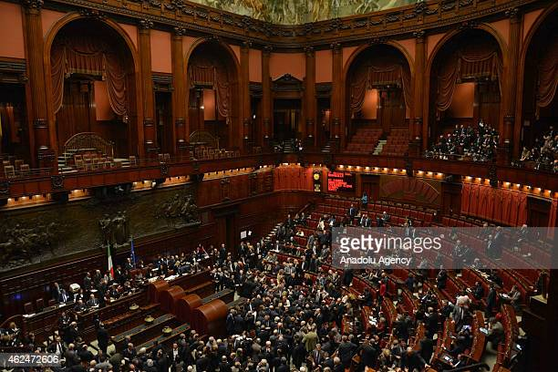 A view of the Chamber of Deputies as Italian Parliament votes for the new President of Republic at Palazzo Montecitorio on January 29 2015 in Rome...