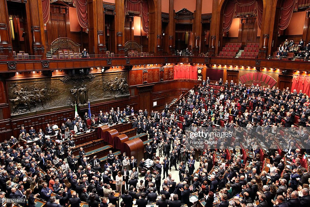 A view of the Chamber of deputies as Parliament voted for President of Republic on April 20, 2013 in Rome, Italy. After five ballots ended in deadlock the Italian Parliment has re-elected President Giorgio Napolitano for a second term following a last-minute deal between party chiefs.