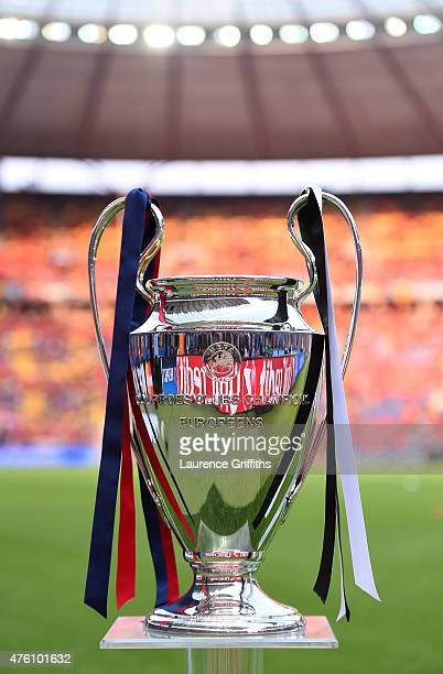 A view of the Champions League trophy prior to the UEFA Champions League Final between Juventus and FC Barcelona at Olympiastadion on June 6 2015 in...