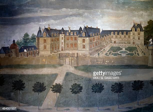 View of the Chateau de Gizeux 17th century fresco Chateau de Gizeux Centre region France