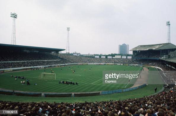 A view of the Chelsea FC football ground at Stamford Bridge London during a match circa 1970