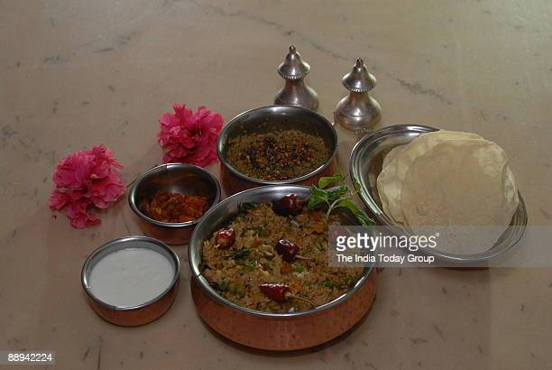 View of the Chettinadu Breakfast Indian Recipes for Chicken Curry Dishes and Chicken Biryani at Chettiar mansions in Chettinad Tamil Nadu India