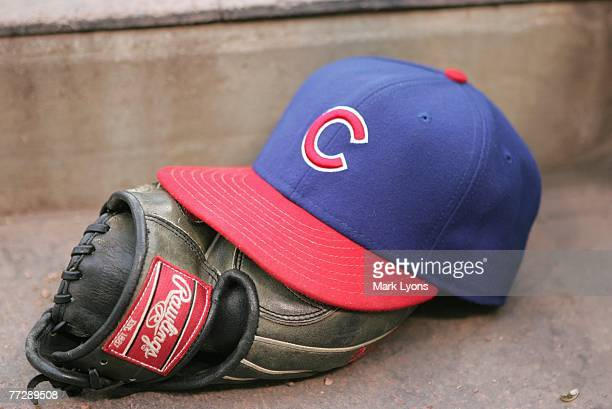 A view of the Chicago Cubs hat and glove during the MLB game the Cincinnati Reds on September 29 2007 at Great American Ballpark in Cincinnati Ohio...