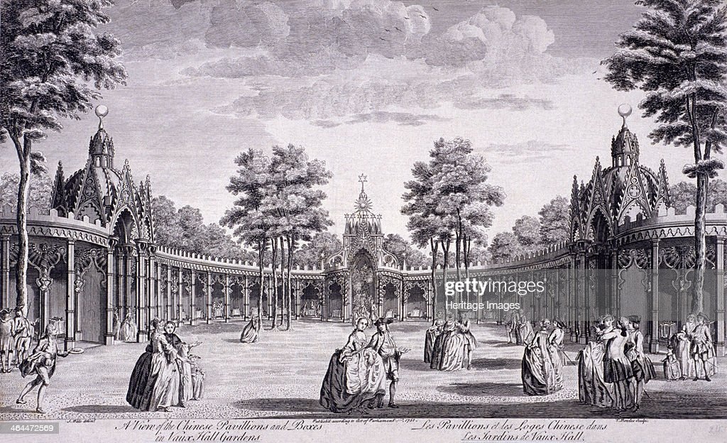 View of the Chinese Pavilions and boxes in Vauxhall Gardens Lambeth London 1751 also showing elegantly dressed figures walking in the area