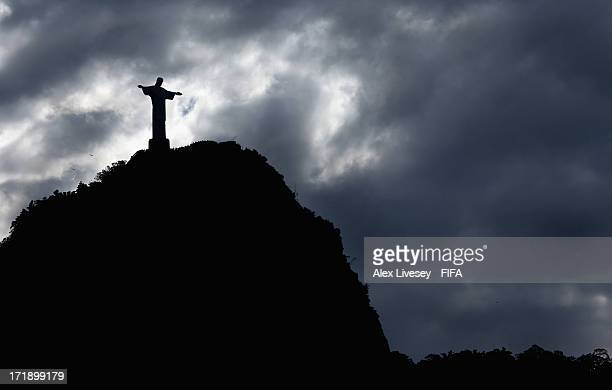 A view of the Christ The Redeemer statue is seen ahead of the FIFA Confederations Cup Brazil 2013 Final on June 29 2013 in Rio de Janeiro Brazil