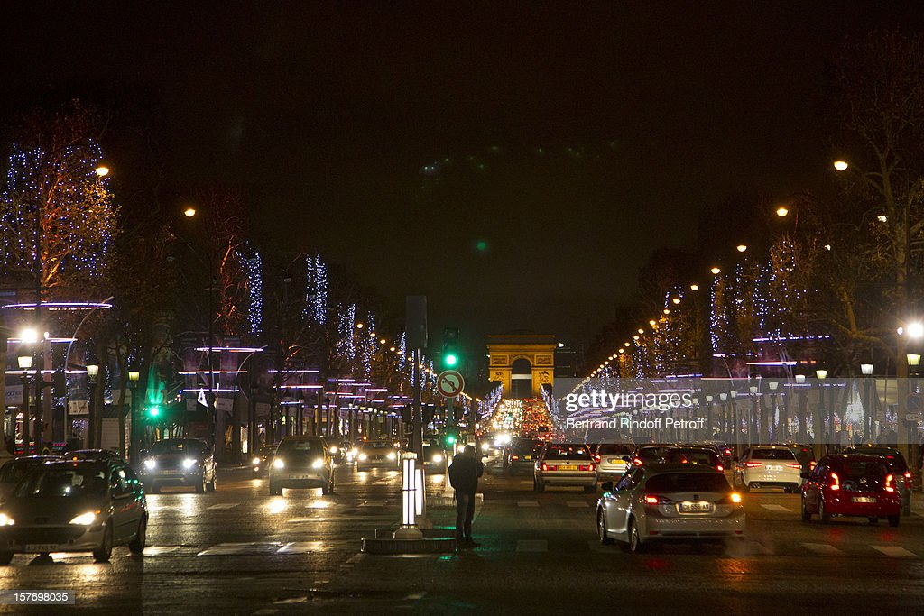 View of the Christmas decorations on the Champs Elysees avenue during the shooting of the year end program 'Toute la musique qu'on aime !' set to be broadcast on New Year's Eve on French private channel TF1, from Place de la Concorde near Hotel Crillon on December 4, 2012 in Paris, France.