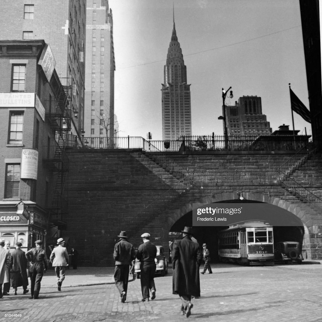 A view of the Chrysler Building as seen from First Avenue and 42nd Street, New York, New York, 1930s.