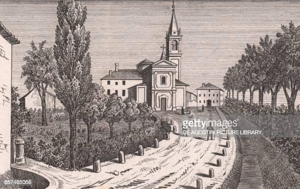 View of the Church of Saint Michael the Archangel Argelato EmiliaRomagna Italy lithograph ca 13x17 cm from Le Chiese Parrocchiali della Diocesi di...
