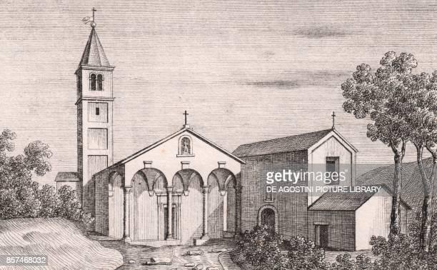 View of the Church of Saint Michael the Archangel Capugnano Porretta Terme Alto Reno Terme EmiliaRomagna Italy lithograph ca 13x17 cm from Le Chiese...