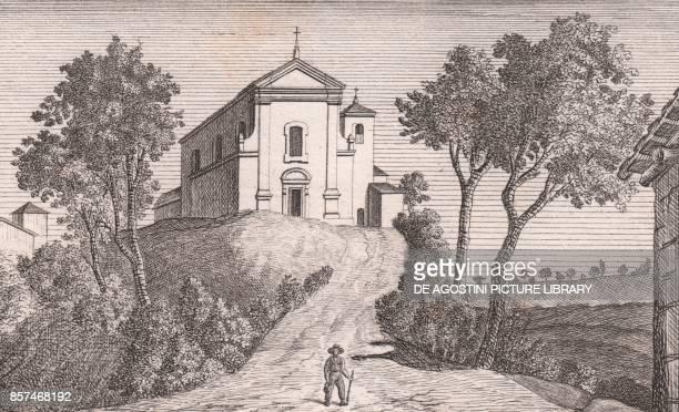 View of the Church of Saint Michael the Archangel Casalecchio dei Conti Castel San Pietro Terme EmiliaRomagna Italy lithograph ca 13x17 cm from Le...