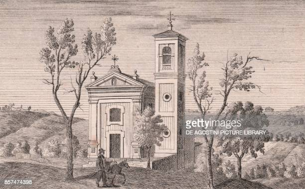 View of the Church of Saint Michael the Archangel Gaibola Bologna EmiliaRomagna Italy lithograph ca 13x17 cm from Le Chiese Parrocchiali della...