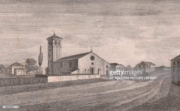 View of the Church of Saint Michael the Archangel Ganzanigo Medicina EmiliaRomagna Italy lithograph ca 13x17 cm from Le Chiese Parrocchiali della...