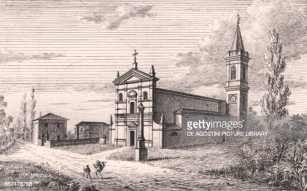 View of the Church of Saint Michael the Archangel Longara Calderara di Reno EmiliaRomagna Italy lithograph ca 13x17 cm from Le Chiese Parrocchiali...