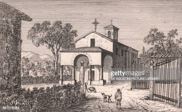 View of the Church of Saint Michael the Archangel Montasico Marzabotto EmiliaRomagna Italy lithograph ca 13x17 cm from Le Chiese Parrocchiali della...