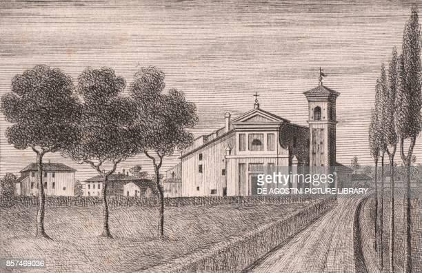 View of the Church of Saint Michael the Archangel Quarto Inferiore Granarolo dell'Emilia EmiliaRomagna Italy lithograph ca 13x17 cm from Le Chiese...