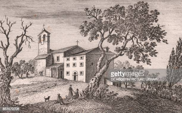 View of the Church of Saint Michael the Archangel Sparvo Castiglione Dei Pepoli EmiliaRomagna Italy lithograph ca 13x17 cm from Le Chiese...