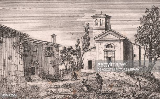 View of the Church of Saint Michael the Archangel Tiola Castello di Serravalle EmiliaRomagna Italy lithograph ca 13x17 cm from Le Chiese Parrocchiali...