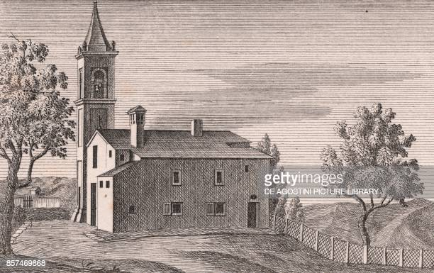 View of the Church of Saints Michael the Archangel and Christopher Sassuno Monterenzio EmiliaRomagna Italy lithograph ca 13x17 cm from Le Chiese...