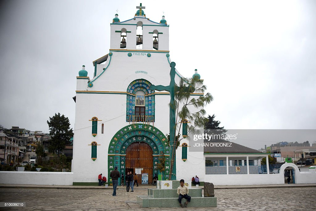 View of the curch of San Juan Bautista in the village of San Juan Chamula, in the surroundings of the place where Pope Francis will officiate an open-air mass in San Cristobal de las Casas, Chiapas State, Mexico on February 13, 2016. Pope Francis urged Mexican bishops Saturday to take on drug trafficking with 'prophetic courage,' warning that it represents a moral challenge to society and the church. AFP PHOTO/Johan ORDONEZ / AFP / JOHAN ORDONEZ