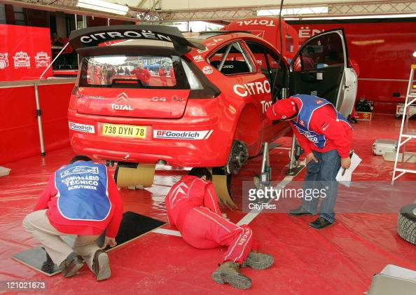 View of the Citroen team during technical verifications before the 2007 World Rally Championship at the Estadio Algarve in Loule Portugal on March 28...