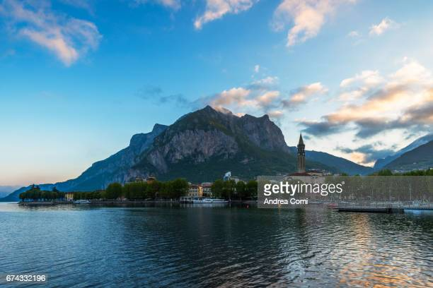 View of the city at sunrise. Lecco, lake Como, Lombardy