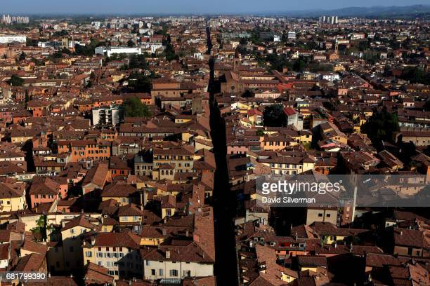 A view of the city from Bologna's iconic Two Towers Le Due Torri of Garisenda and Asinelli on March 30 2017 in Bologna Italy As many as 180 towers...