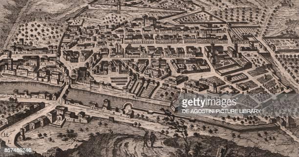 View of the city of Fossombrone Marche Italy copper engraving 152x82 cm from Lo stato presente di tutti i paesi e popoli del mondo naturale politico...