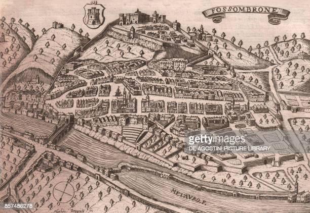 View of the city of Fossombrone with Metauro Marche Italy burin engraving 173x118 cm from Theatro delle citta d'Italia con nova aggiunta by Pietro...