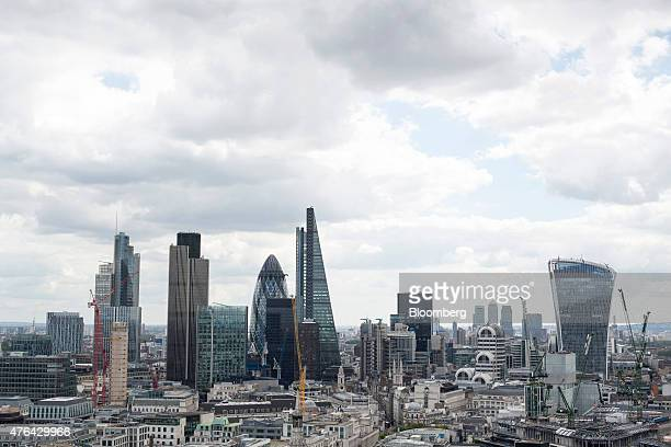 A view of the City of London financial district including from left 30 St Mary Axe also known as the 'Gherkin' the Leadenhall building also known as...