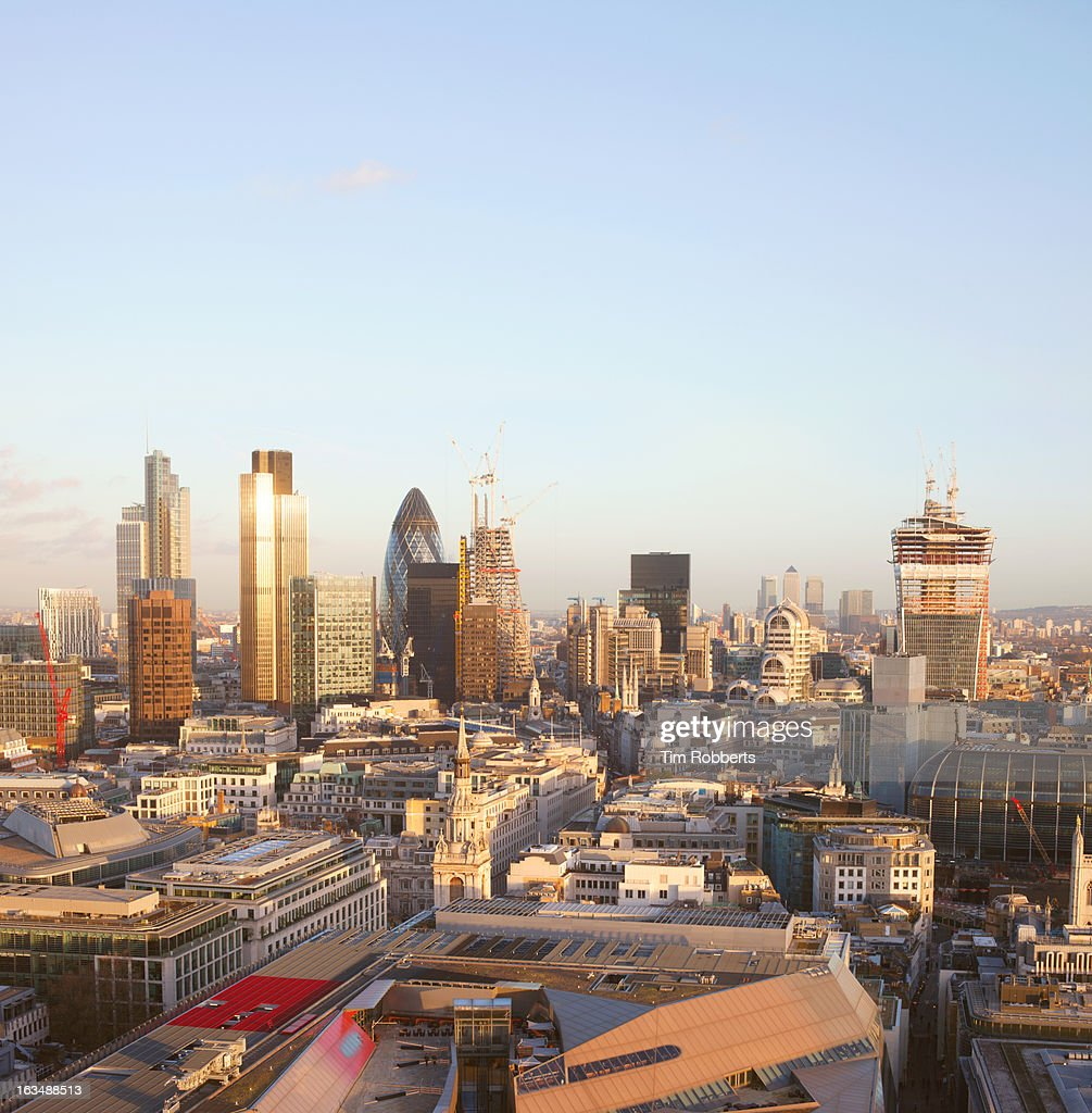 View of the City of London financial district . : Stock Photo