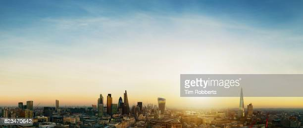 View of the City of London with sun
