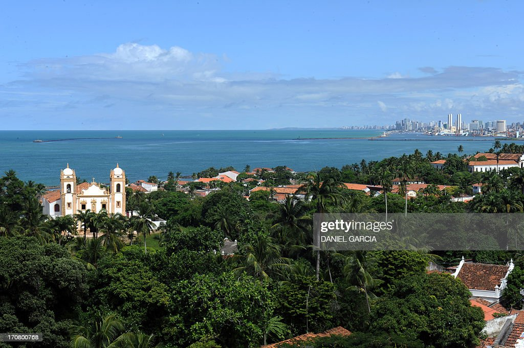 View of the city of Olinda in the state of Pernambuco on June 16, 2013. Olinda is located on the country's northeastern Atlantic Ocean coast, just north of Recife (seen in the background) and it is the second oldest Brazilian city.