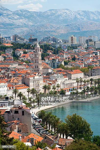View of the city of Split on the Adriatic coast of Croatia