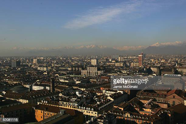 A view of the city of Torino from the Mole Antonelliana on January 29 2005 in Torino Italy Torino will be the host nation for the 2006 Winter Olympic...
