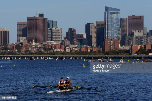 A view of the city skyline during the Head of the Charles Regatta on October 21 2017 in Boston Massachusetts
