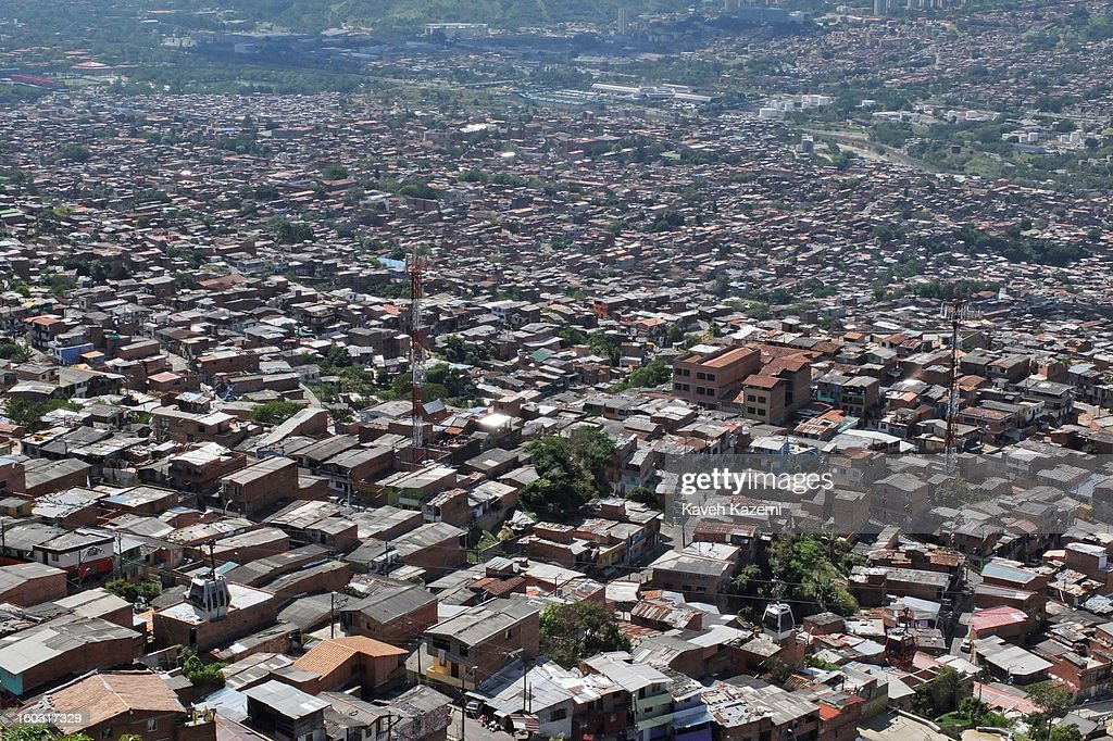 A view of the city slums on January 5, 2013 in Medellin, Colombia. The notorious slums of Medellin have gone through urban and educational projects to improve the quality of life for its residence.