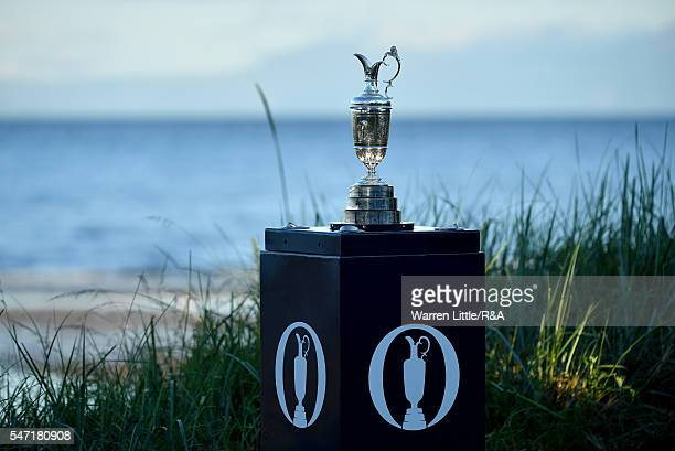 View of the Claret Jug on the 1st tee during the first round on day one of the 145th Open Championship at Royal Troon on July 14 2016 in Troon...