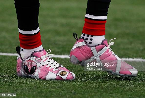 A view of the cleats worn by Mohamed Sanu of the Atlanta Falcons during pregame warmups prior to facing the San Diego Chargers at Georgia Dome on...