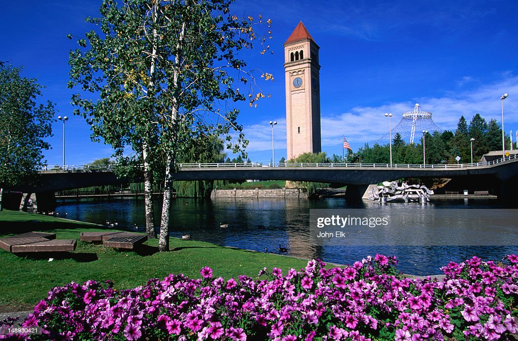 A view of the clock tower in Riverfront Park from across the Spokane River.