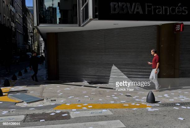 View of the closed banks of Buenos Aires' city centre during the national CGT strike and the CTA against the economic policies of President Mauricio...