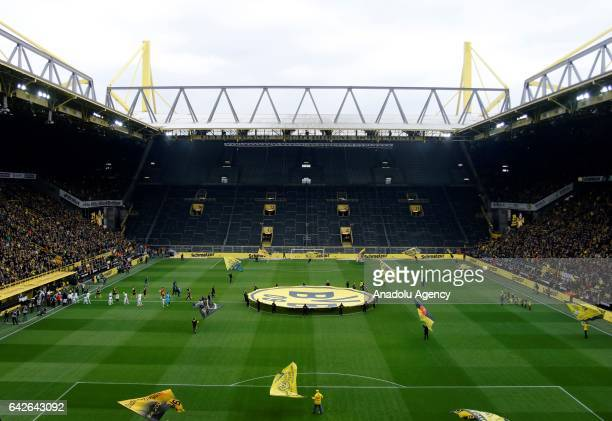 A view of the closed south stand of the Signal Iduna Park as players enter the stadium before the Bundesliga soccer match between Borussia Dortmund...