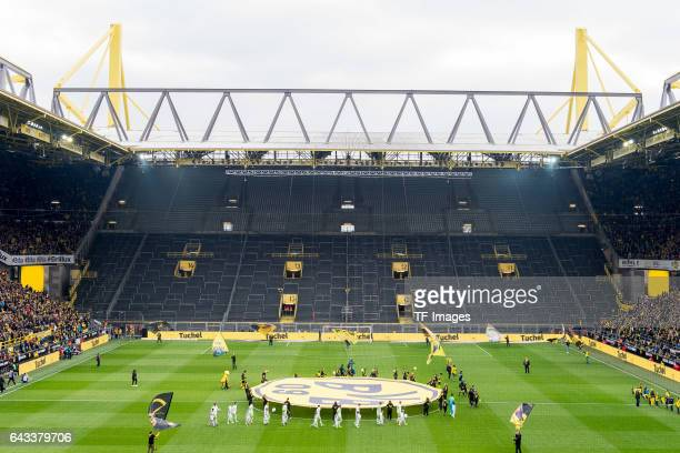 A view of the closed south stand of the Signal Iduna Park as players enter the stadium before during the Bundesliga match between Borussia Dortmund...