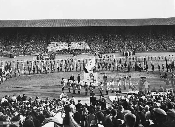A view of the closing ceremony of the 1948 Olympic Games Wembley Stadium London 14th August 1948