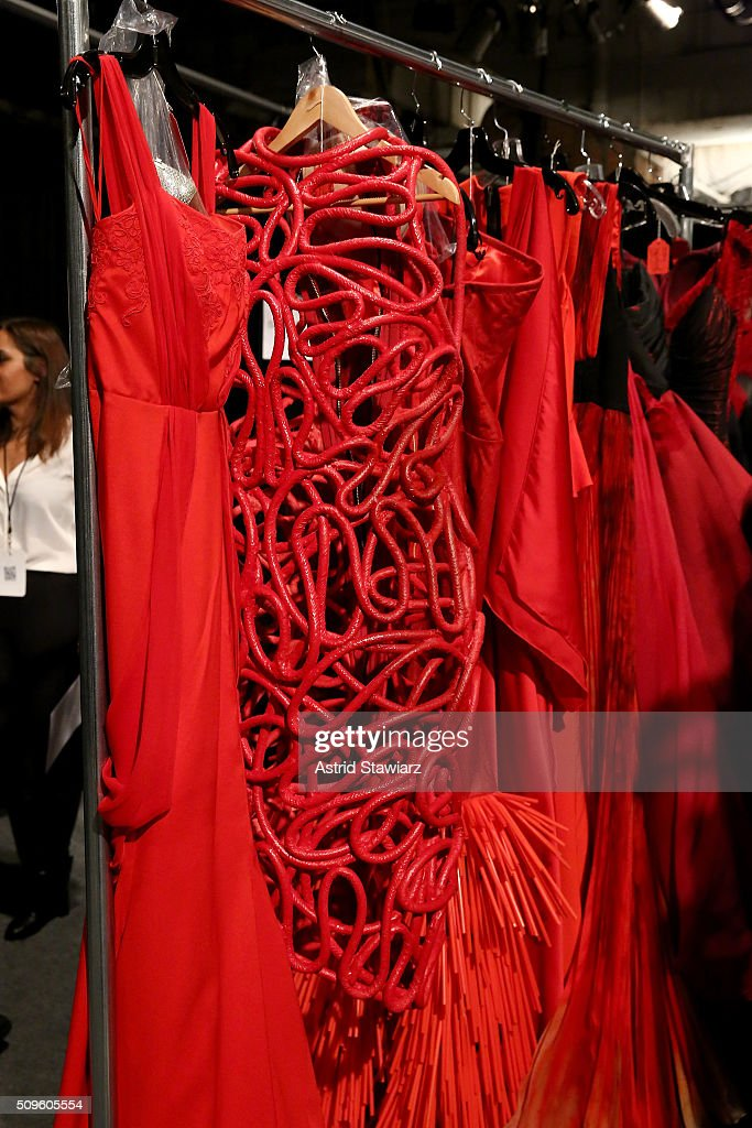 A view of the clothing backstage at The American Heart Association's Go Red For Women Red Dress Collection 2016 Presented By Macy's at The Arc, Skylight at Moynihan Station on February 11, 2016 in New York City.